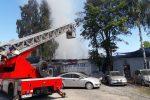 Pożar budynku warsztatowego