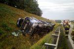 Wypadek lawety na autostradzie A4